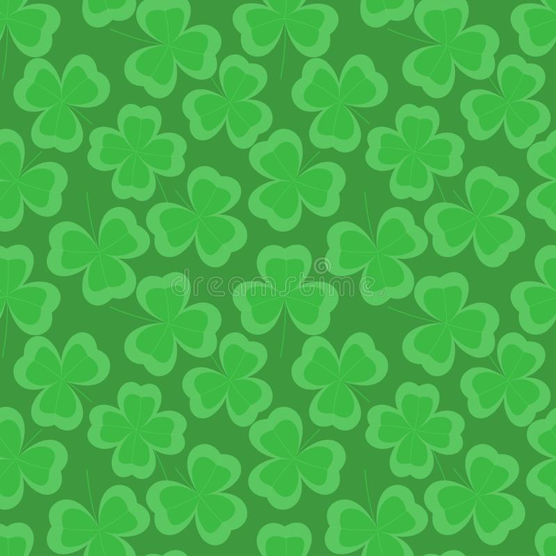 Clover leaf vector seamless pattern on green background. royalty free stock images