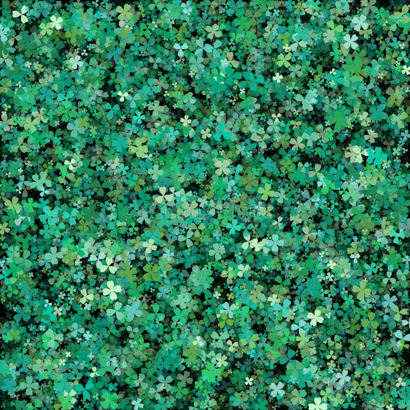 Clover leaves background for Saint Patrick Day. Green clovers wi. Th volume effect stock illustration