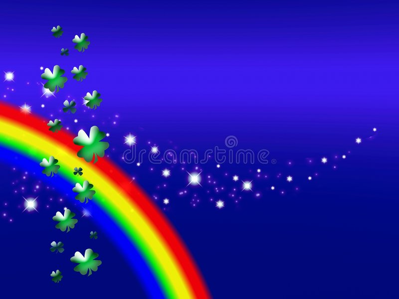 Clover leaves and rainbow vector illustration