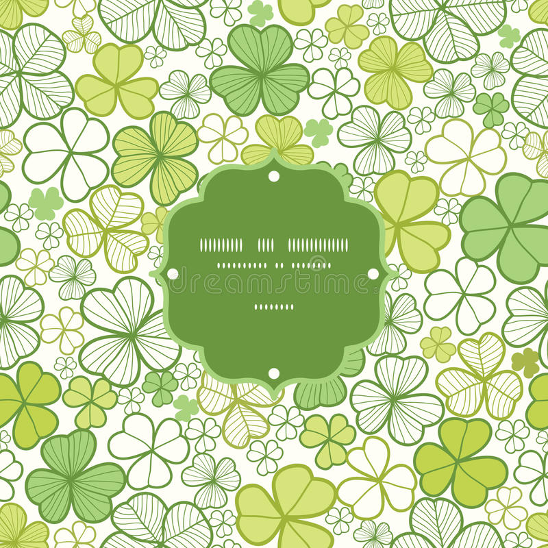 Clover line art frame seamless pattern background vector illustration