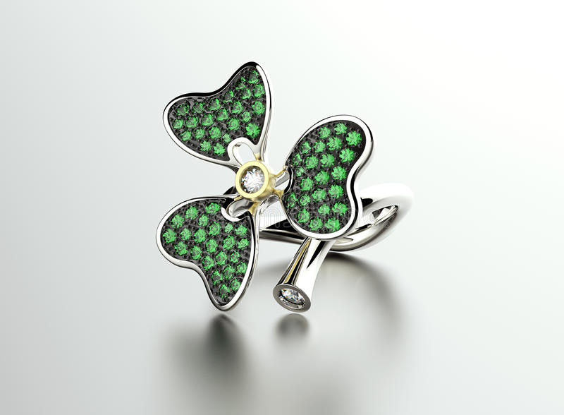 Clover Ring with Diamond and Emerald. Jewelry background with fortune sign royalty free illustration