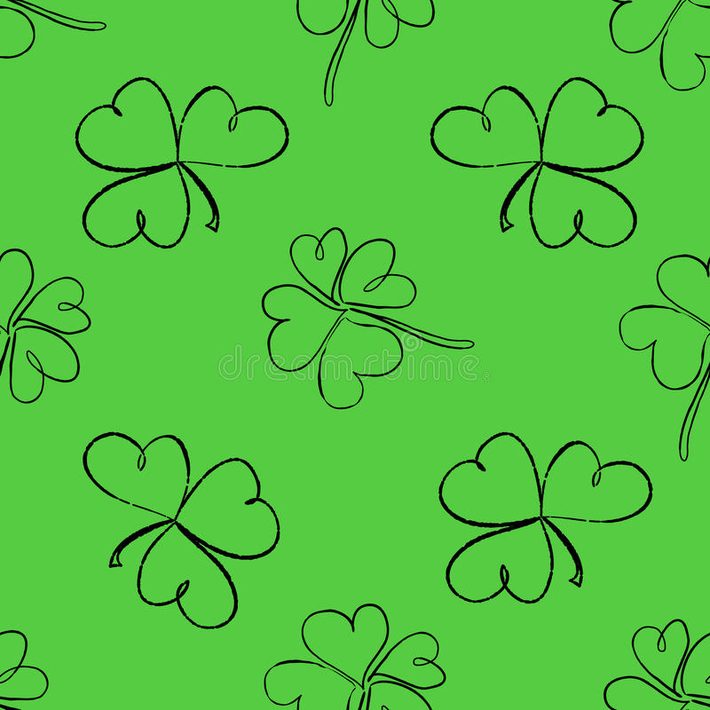 Clover seamless pattern. Clover pattern with three and four leaf. St. Patrick`s Day hand-drawn doodle style clover endless repeat backdrop, texture, wallpaper vector illustration