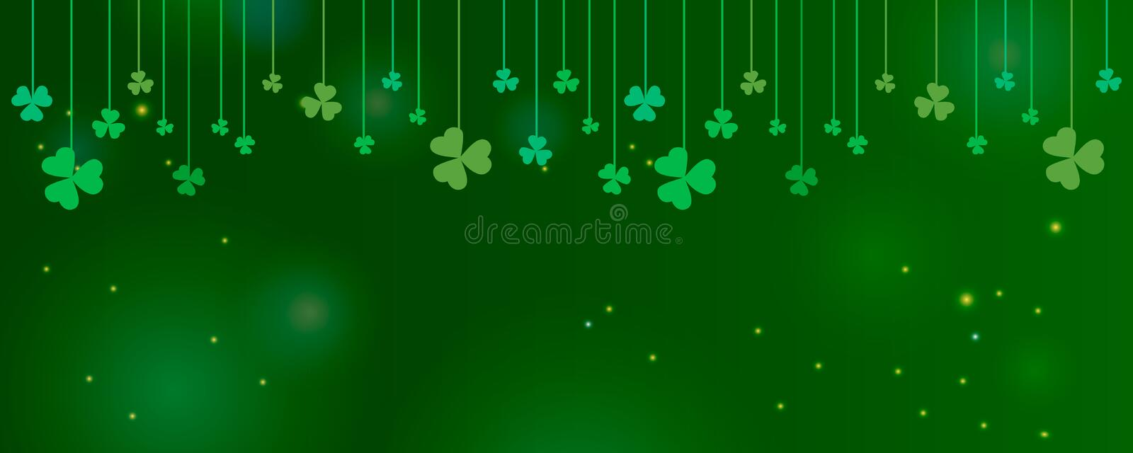 Clover shamrock leaves hung on strings on dark green background. Abstract St. Patrick`s day border horizontal panorama background stock illustration