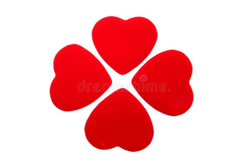 Cloverleaf. Digital photo of 4 hearts looking like a cloverleaf stock image