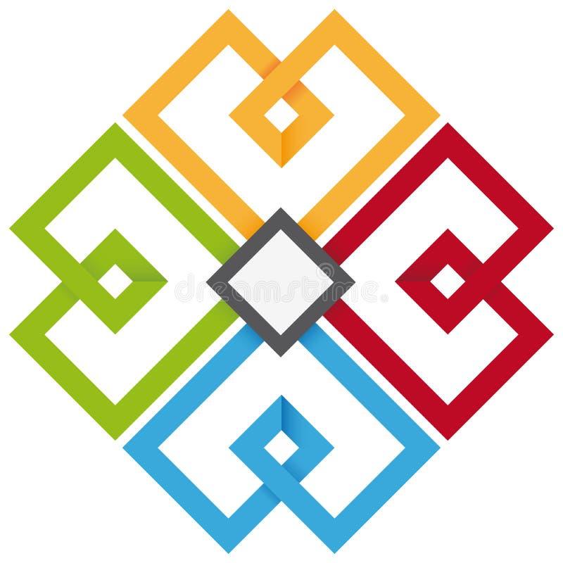 Cloverleaf de quatro cores ilustração do vetor