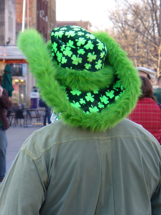Cloverleaf Hat-St. Patrick's Day. Photo of man wearing a cloverleaf hat for St. Patrick's day in Washington D.C royalty free stock photography