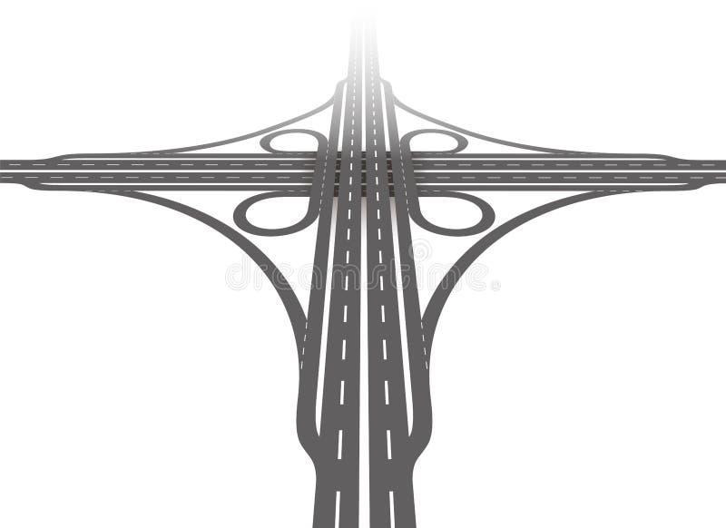 Cloverleaf Interchange Aerial Perspective royalty free illustration
