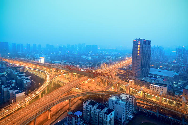 Cloverleaf intersectio at night. Beautiful traffic background stock photography