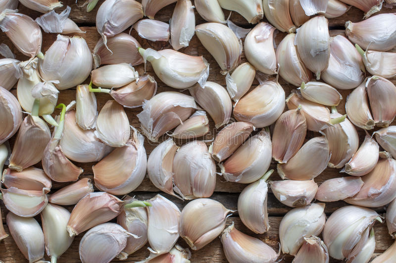 Cloves of garlic harvest on a wooden table. For background top view stock photos