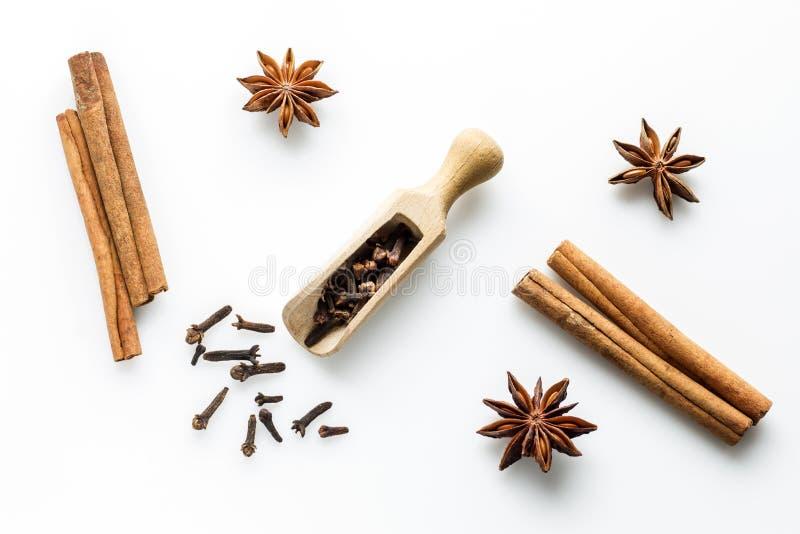 Cloves na drewnianej miarce z cynamonowymi kijami, gwiazdowy anyż zdjęcie stock