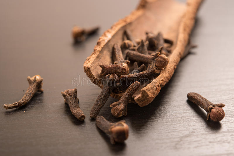 Cloves randomly arranged in Cinnamon. In a black background royalty free stock images