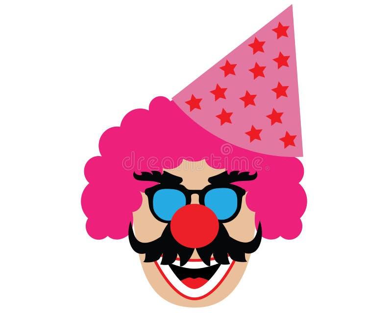 Clown's głowa z kapeluszem odizolowywającym na białym tle ilustracji