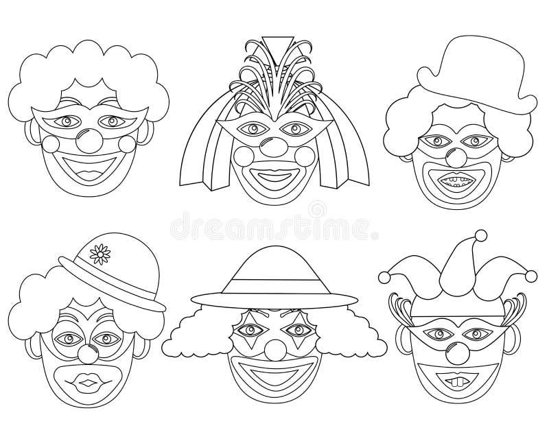 Clown's huvud i vit- och svartfärger, uppsättning royaltyfri illustrationer