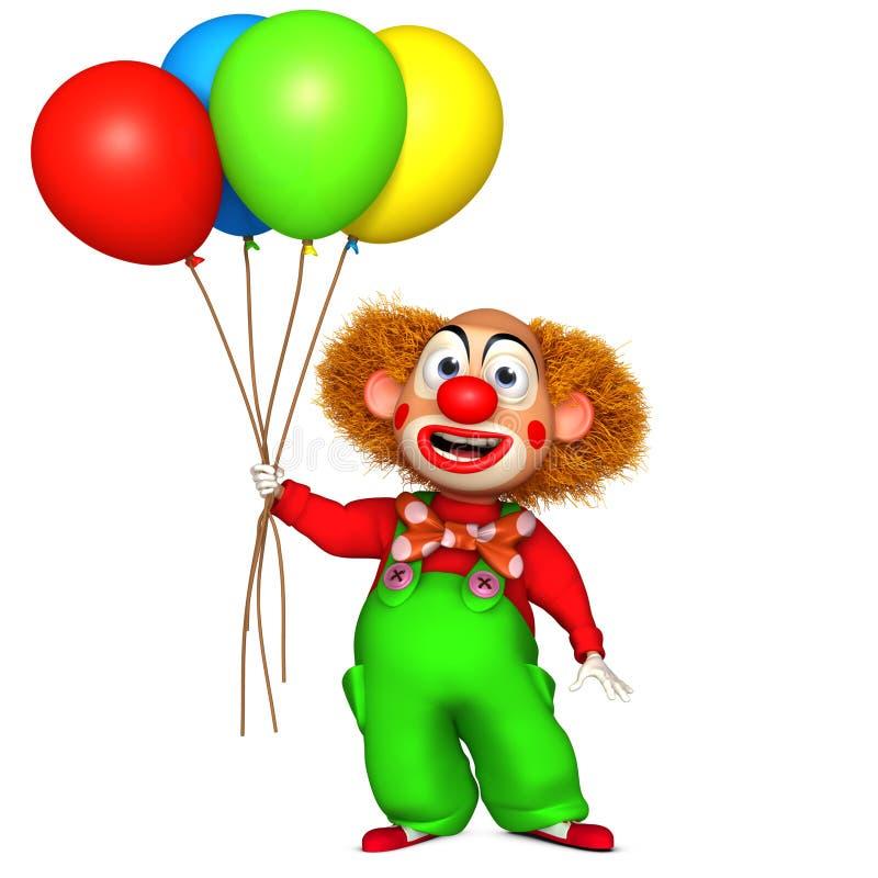 clown 3d avec des baloons illustration libre de droits