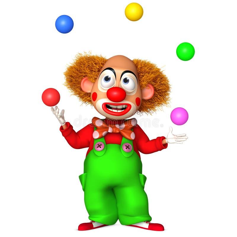 clown 3d avec des billes illustration stock
