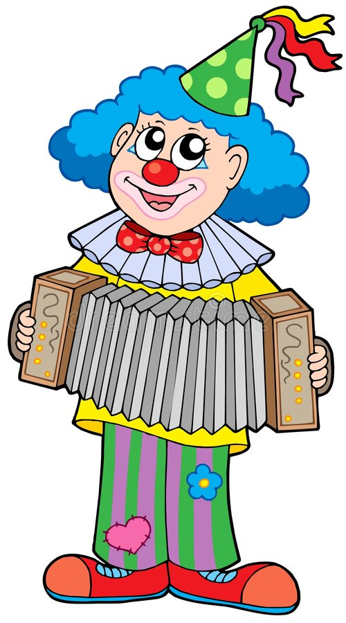 Clown with accordion. Vector illustration royalty free illustration