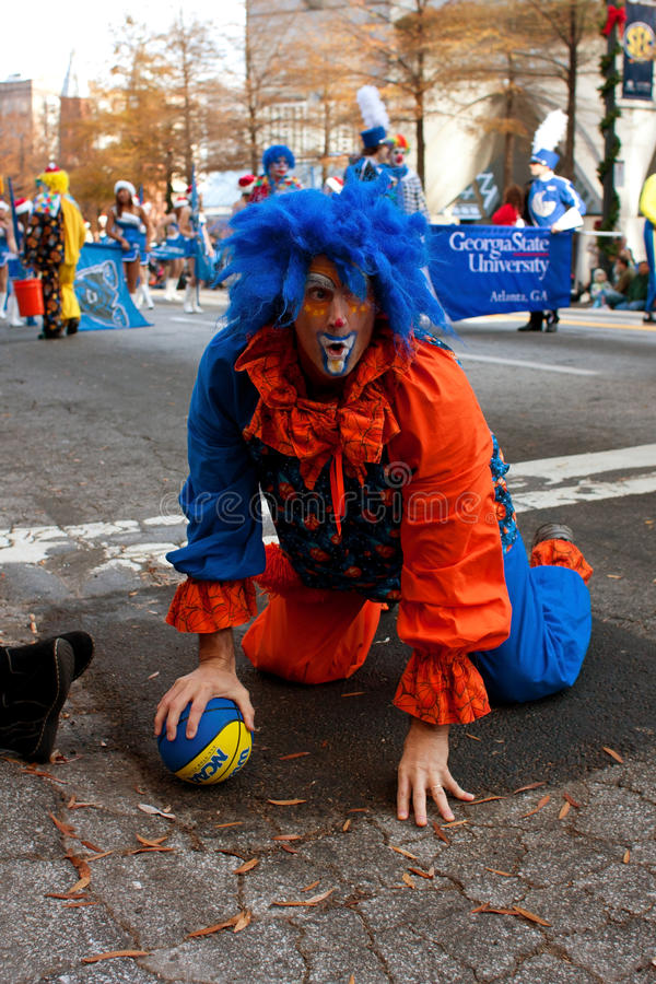 Clown Acts Silly In Atlanta Christmas Parade royalty free stock images