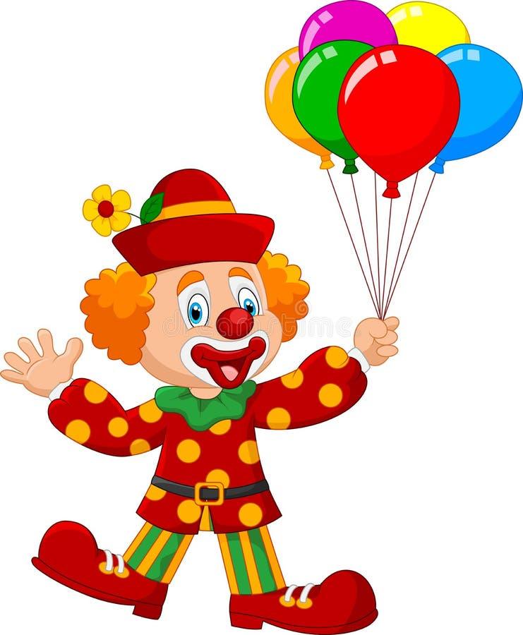 Clown adorable jugeant le ballon coloré d'isolement sur le fond blanc illustration stock
