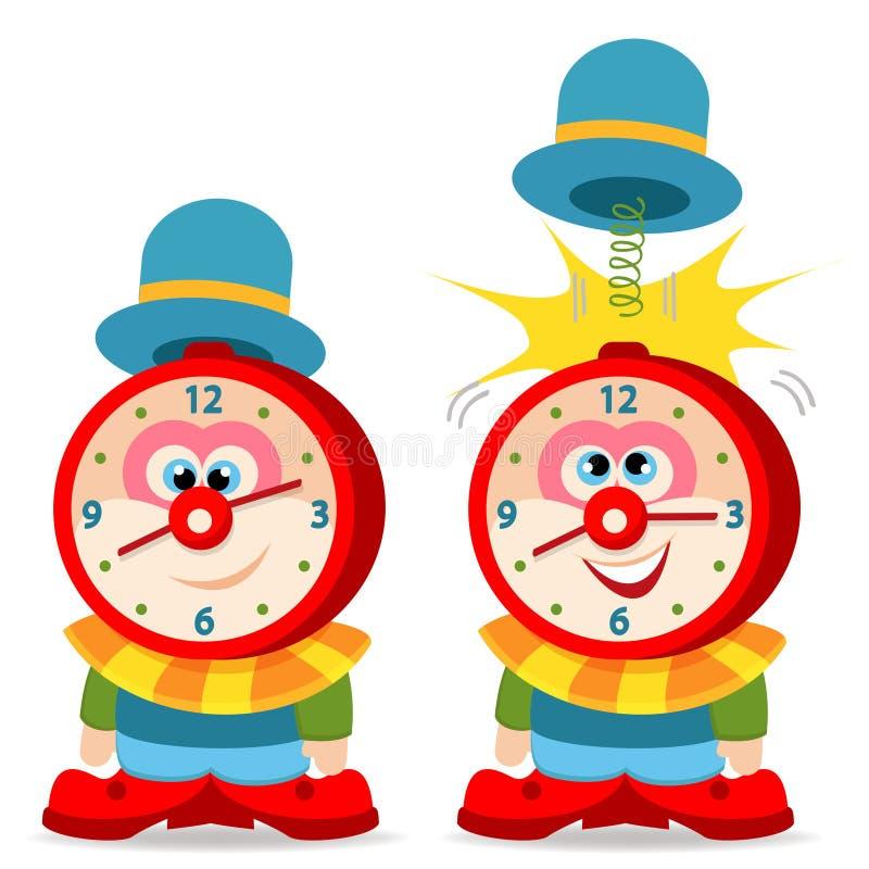 Clown alarm clock stock illustration