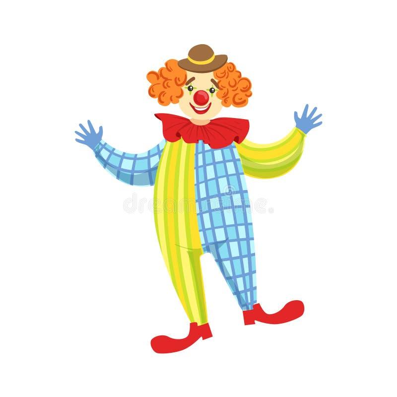 Clown amical coloré In Derby Hat And Classic Outfit illustration libre de droits
