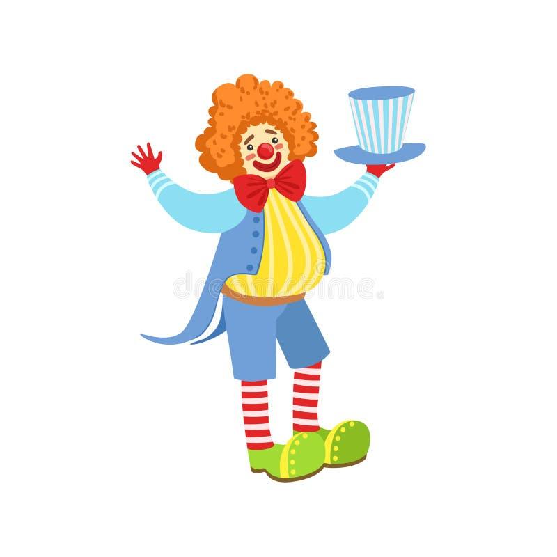 Clown amical coloré Holding Top Hat dans l'équipement classique illustration de vecteur