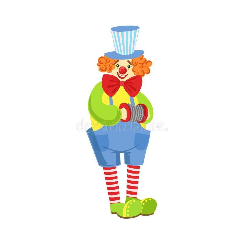 Clown amical coloré With Miniature Accordion dans l'équipement classique illustration stock