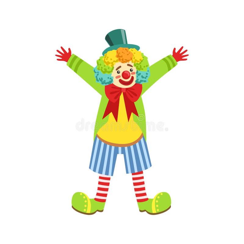 Clown amical coloré With Multicolor Wig dans l'équipement classique illustration libre de droits