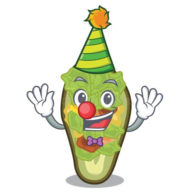 Clown angefüllte Avocado in der Maskottchenform vektor abbildung