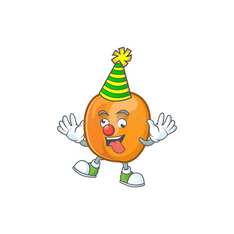 Clown apricot fruit in the cartoon shape. Vector illustration stock illustration