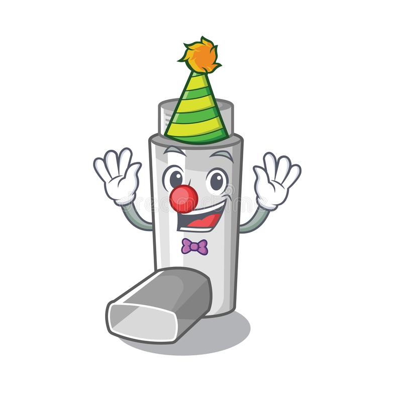 Clown asthma inhaler in the character bag. Vector illustration royalty free illustration