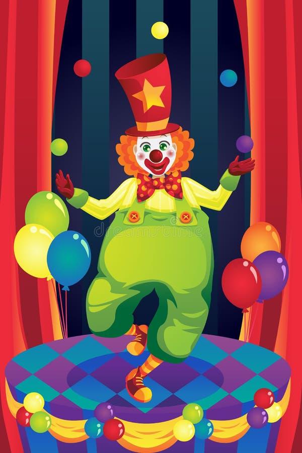 Clown auf Stufe stock abbildung