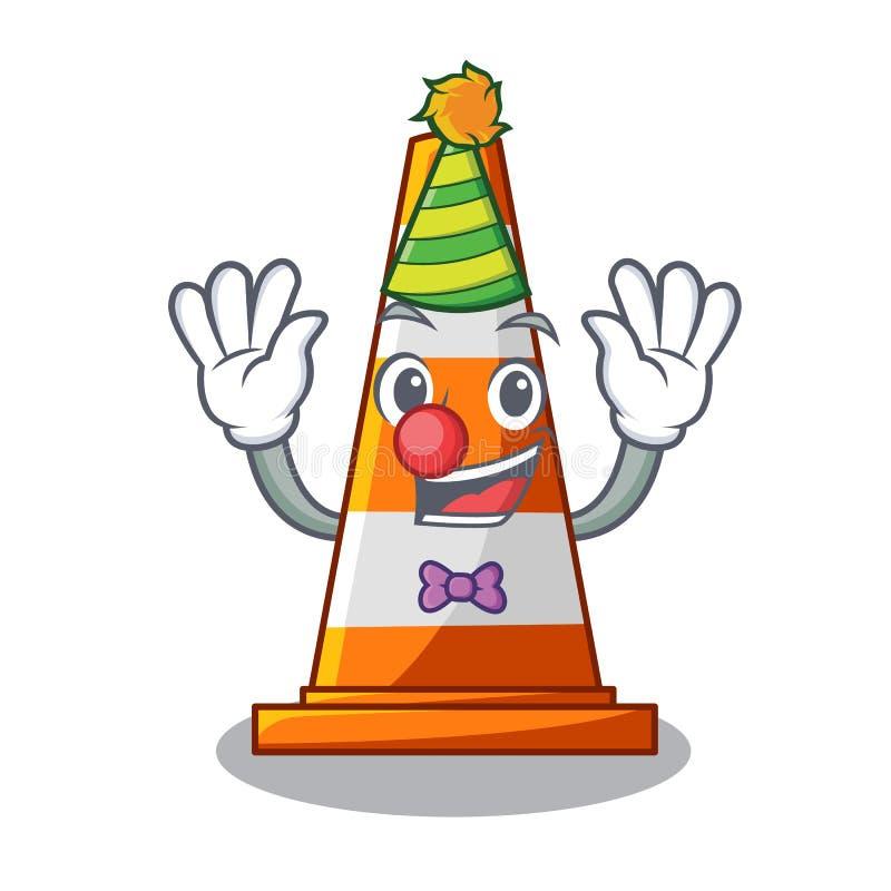 Clown auf Verkehrskegel gegen Maskottchen argaet stock abbildung