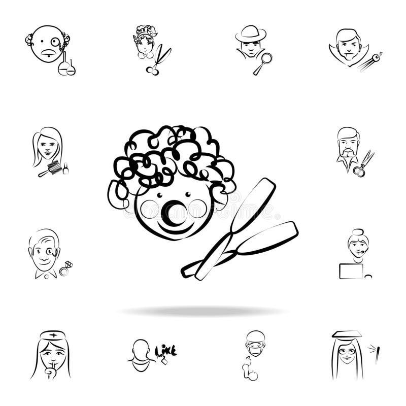 clown avatar sketch style icon. Detailed set of profession in sketch style icons. Premium graphic design. One of the collection vector illustration
