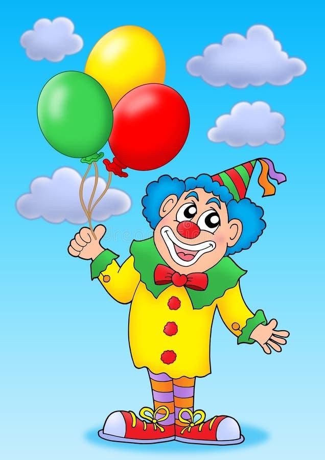 Clown avec des ballons sur le ciel bleu illustration de vecteur