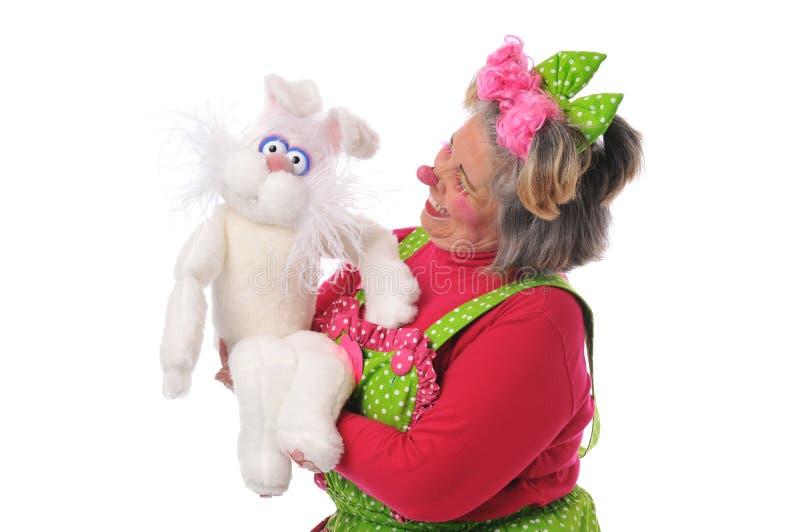 Clown avec la marionnette photographie stock libre de droits