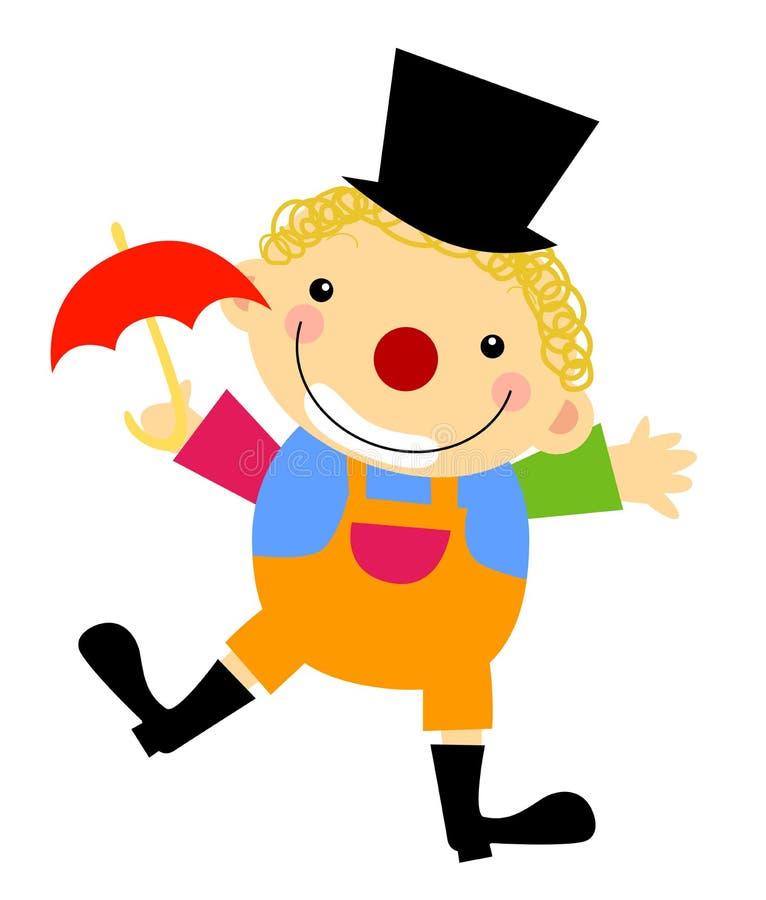 Clown avec le parapluie illustration de vecteur