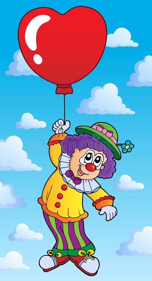 Clown De Vol Avec Des Ballons De Dessin Anime Illustration De