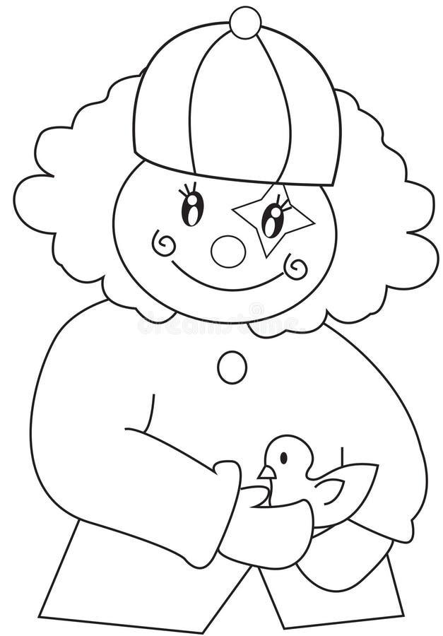 Clown avec une page de coloration d'oiseau illustration stock
