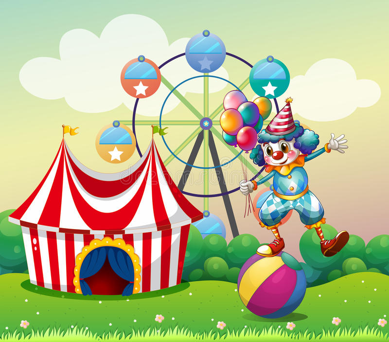 Download A Clown Balancing Above An Inflatable Ball At The Carnival Royalty Free Stock Image - Image: 32330956