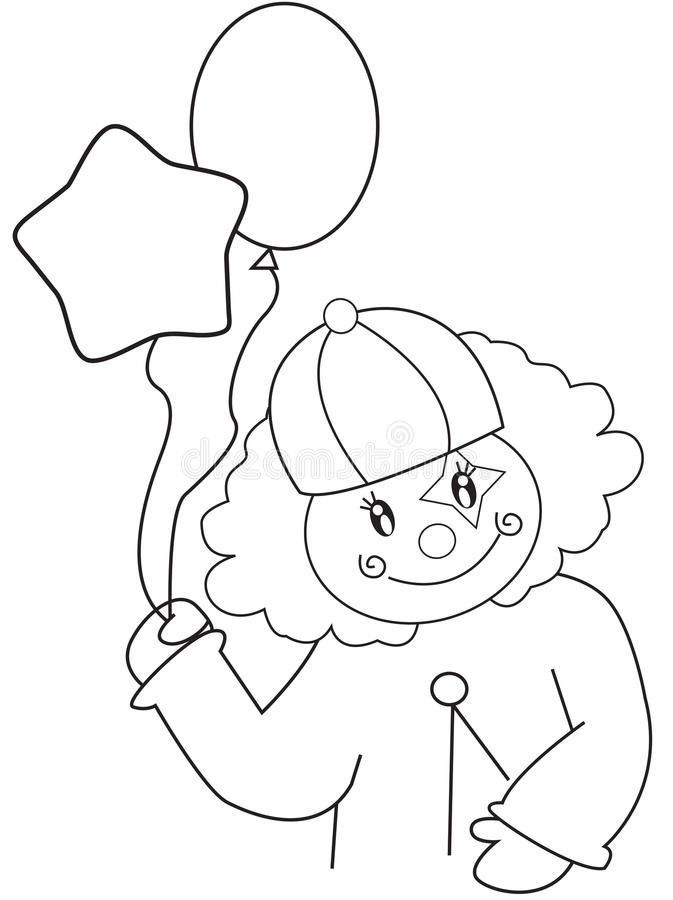 Clown With Balloons Coloring Page Stock Illustration - Illustration ...