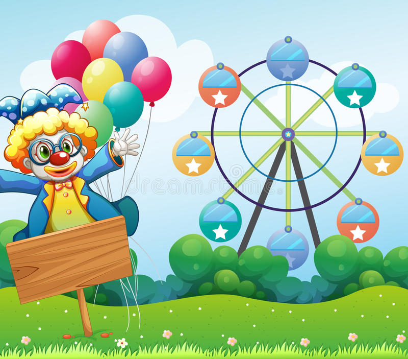 Download A Clown With Balloons And The Empty Signage Stock Photography - Image: 31791622