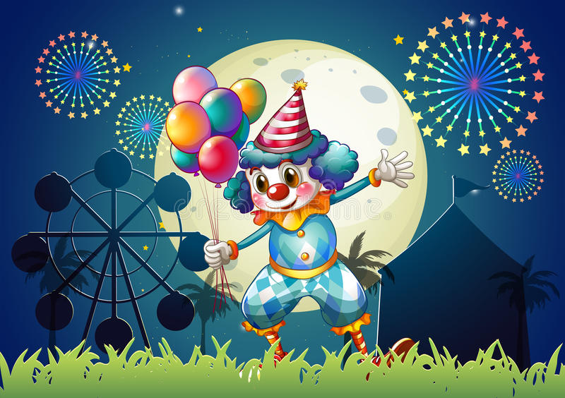Download A Clown With Balloons Standing In Front Of The Carnival Stock Illustration - Image: 34316156