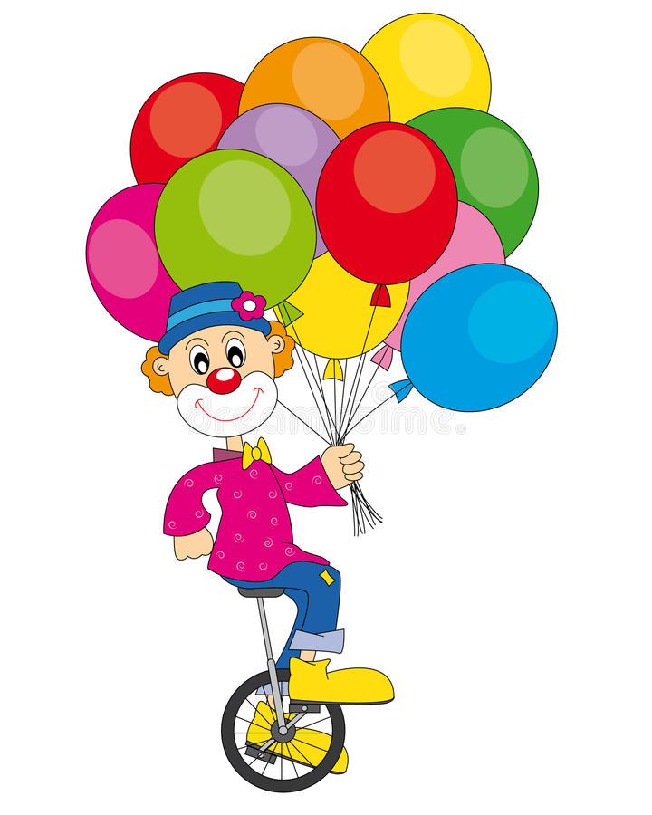 Clown bicycle royalty free illustration
