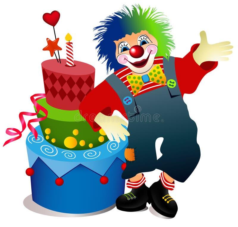 Clown with birthday cake royalty free illustration