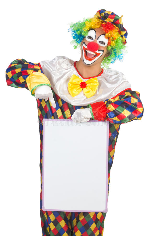 Clown with blank board