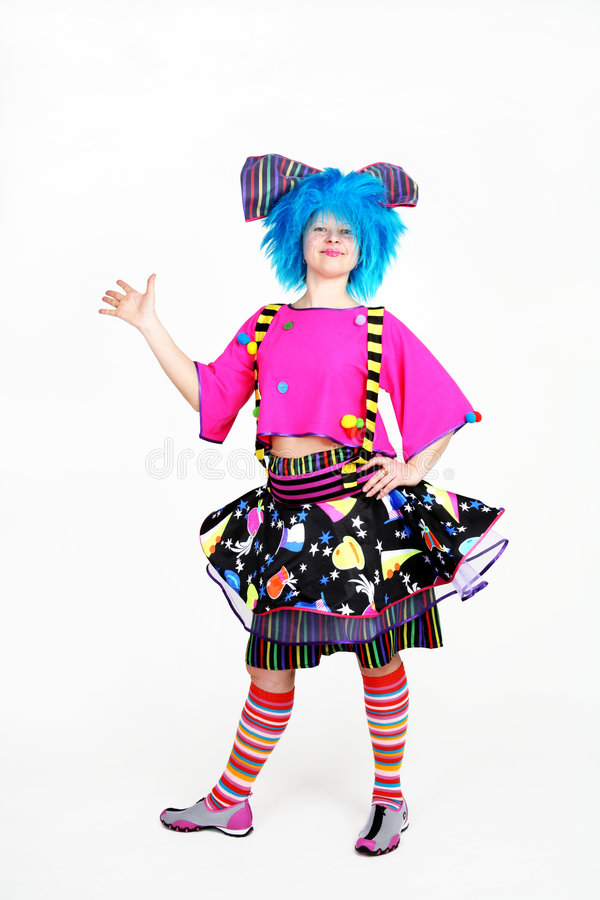 Clown with blue hair royalty free stock image