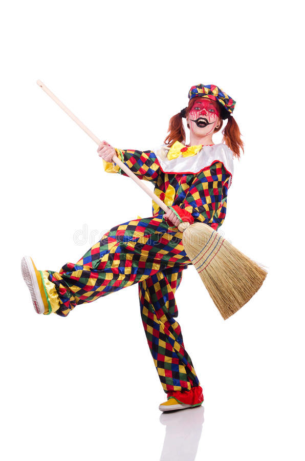 Download Clown with broom stock photo. Image of humour, humorous - 33965244