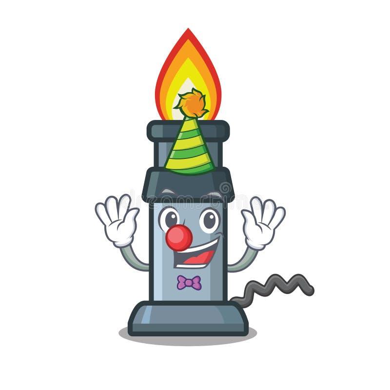 Clown Bunsenbrenner über hölzerner Karikaturtabelle vektor abbildung