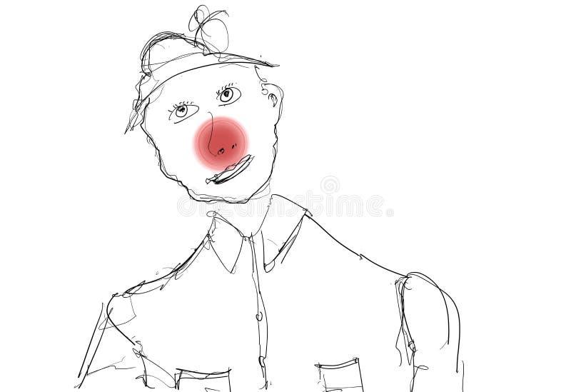 Clown Cartoon Hand Drawn lizenzfreie abbildung