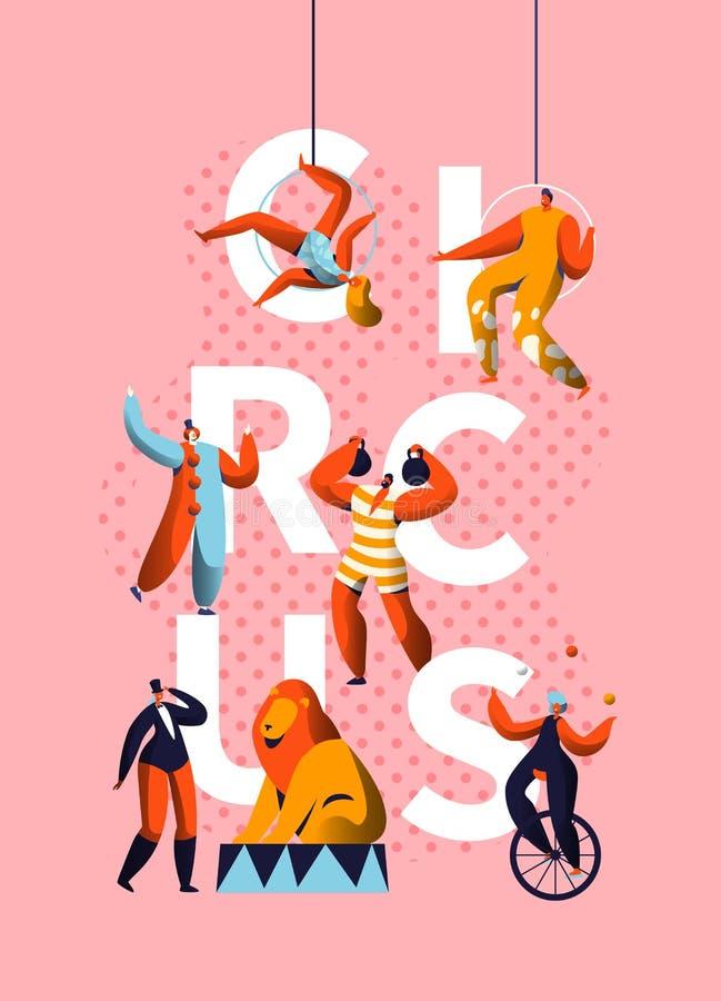 Clown Character Typography Banner de carnaval de cirque Jongleur Performance de magicien et de monocycle Exposition de costume de illustration stock